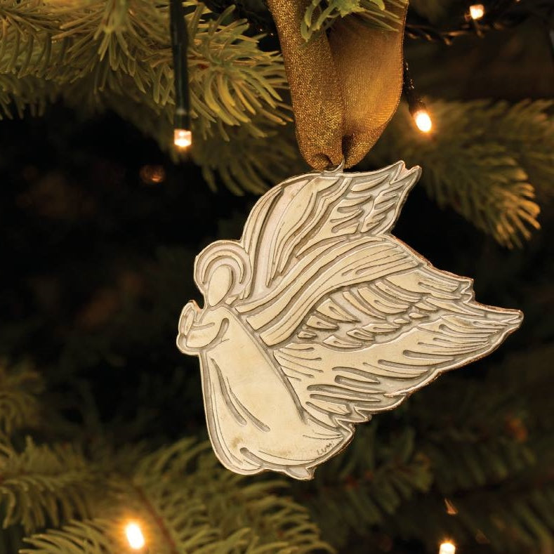 Angel Selene Pewter Christmas Decoration