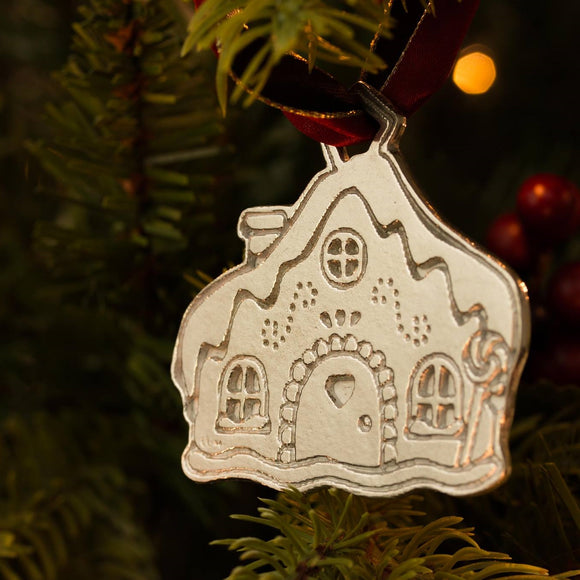 Gingerbread House Pewter Christmas Decoration
