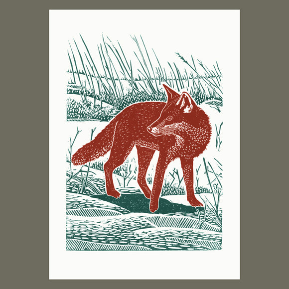 Fox In The Snow linocut poster-print