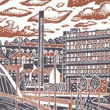 Sheffield City View No.8 linocut poster print