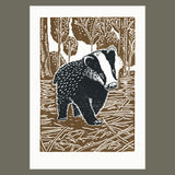 Young Badger linocut poster-print