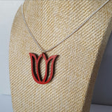 Lasercut tulip pendant necklace - red