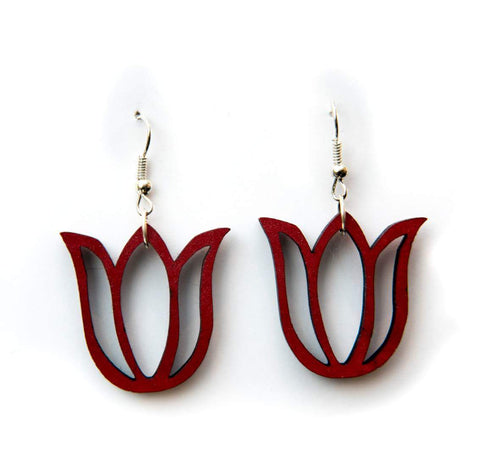 Dangly lasercut tulip earrings - red