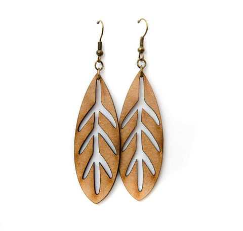 Dangly lasercut leaf earrings