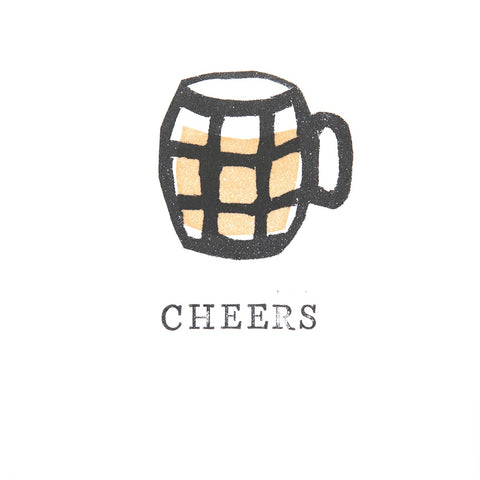 Card: Cheers A6 greetings card - pint of beer - birthday - thanks - well done - for him