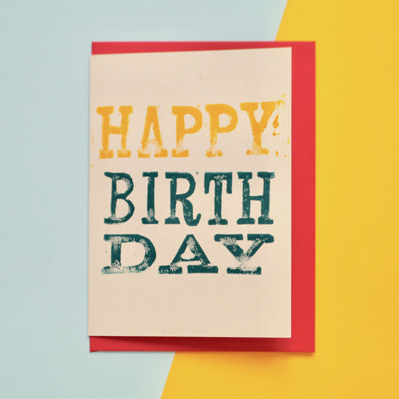 Happy Birthday Lino Print Card