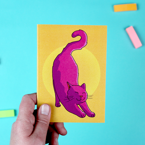 Pink Cat A6 Notebook - Stretching Cat