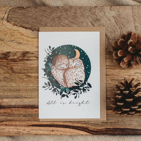 All is Bright Woodland Owl Christmas Card