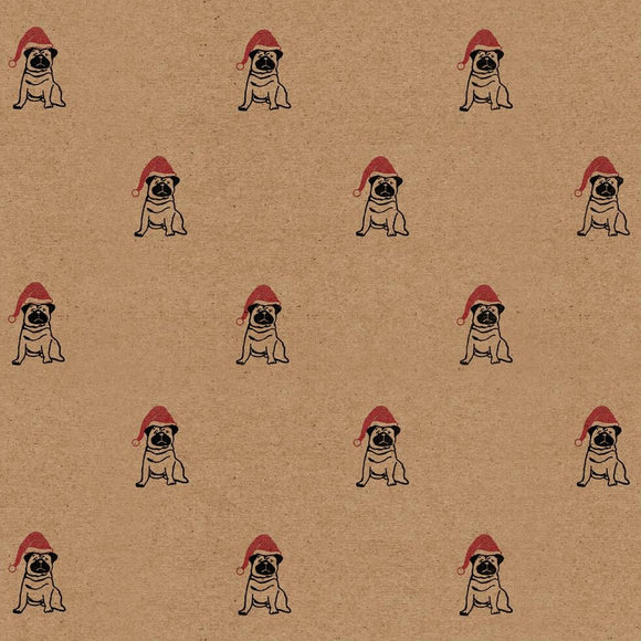 Christmas Pug Wrapping Paper Sheet // 70 cm x 50 cm / 27.5