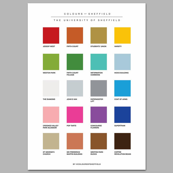 University of Sheffield Colours of Sheffield Print