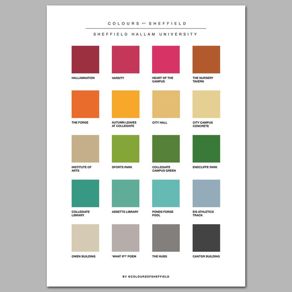 Sheffield Hallam University Colours of Sheffield Print