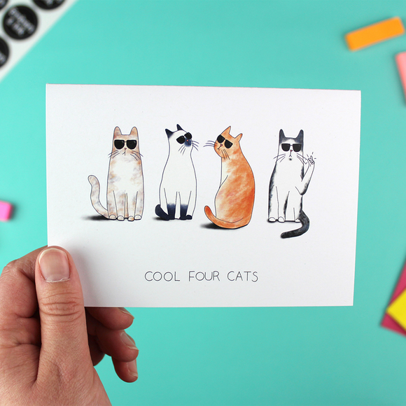 Cool Four Cats Greetings Card
