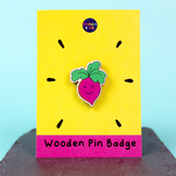 Cutie-Rootie Beetroot Wooden Pin Badge by Embers and Ink