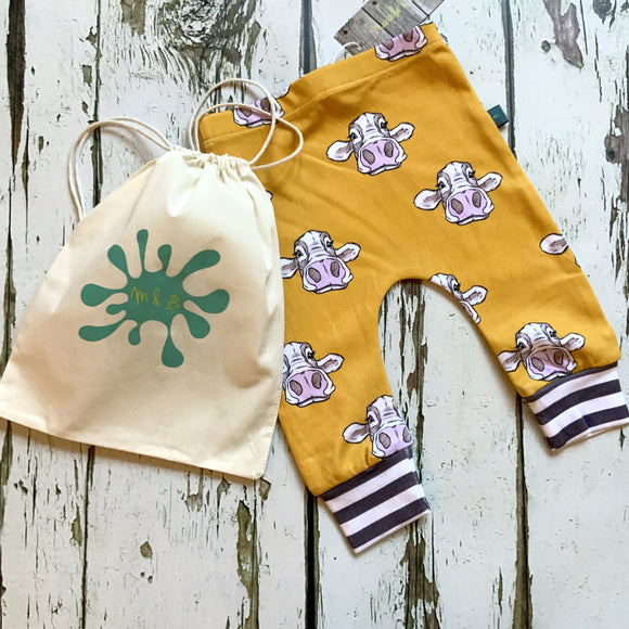 Yellow Cow Baby Leggings, Hats, Mits & Gift Sets