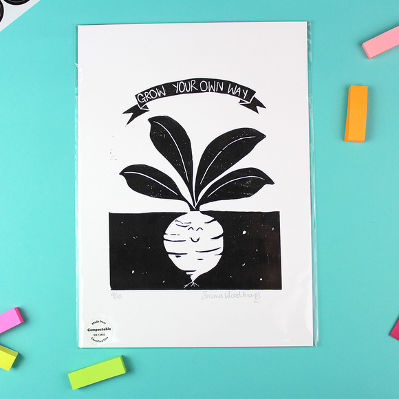 Grow Your Own Way Lino Print - Unframed