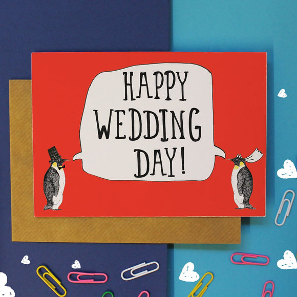 Penguin Happy Wedding Card