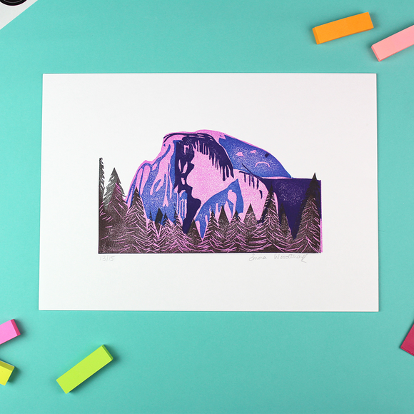 Half Dome Lino Print Limited Edition - Unframed