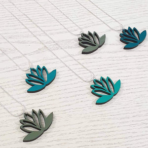 Lasercut Lotus Reversible Pendant Necklace - Khaki/Sage & Teal