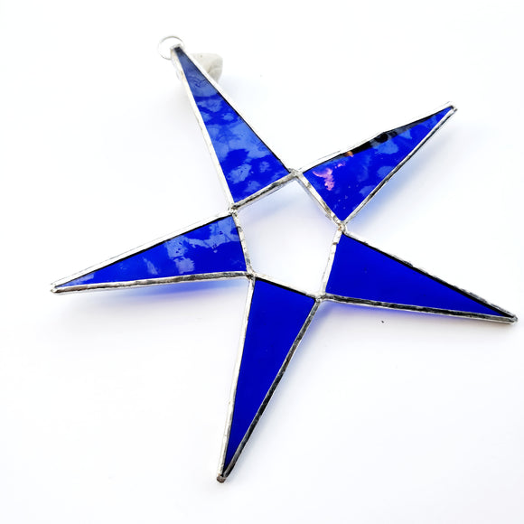 Dark Blue Stained Glass Star Suncatcher