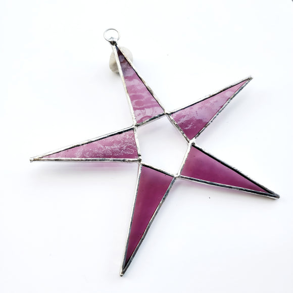 Rose Pink Stained Glass Star Suncatcher