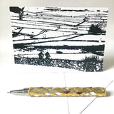 """Sparrowpit in the Peak"" winter scene illustration by Sam Parr Greeting Card"