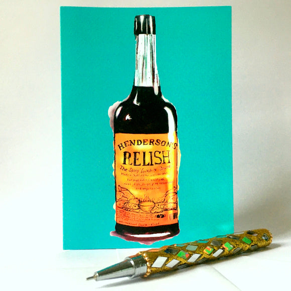 Henderson's Relish Card blue-green background