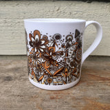 Mustard Black and White squiggles and lines floral pattern fine China Mug