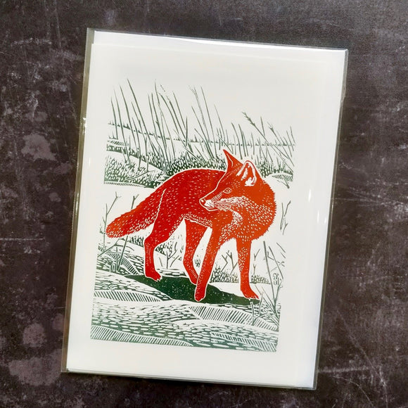 Fox in the Snow Lino Art Card