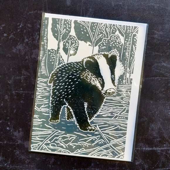 Young Badger Lino Art Card