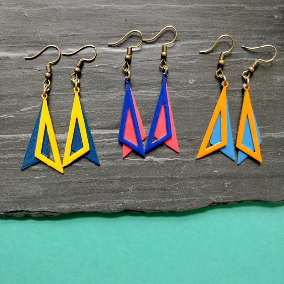 Double Triangle Enamel Dangly Earrings