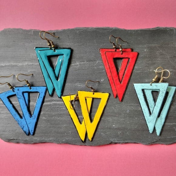 Triangle Cutout Enamel Dangly Earring
