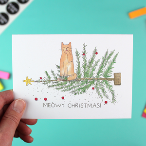 'Oh Christmas Tree' - Single Meowy Christmas Card with envelope