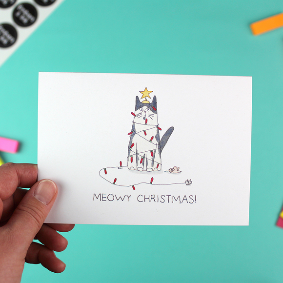 'All Wrapped Up' - Single Meowy Christmas Card with envelope