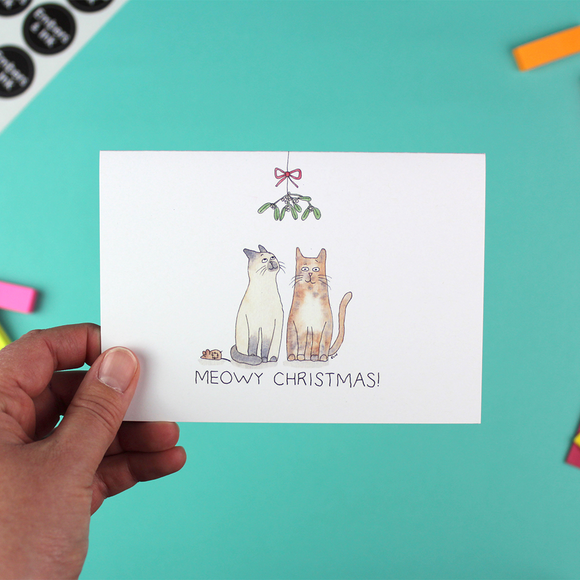 'Under the Mistletoe' - Single Meowy Christmas Card with envelope
