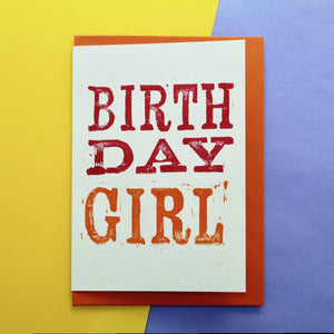 Birthday Girl Lino Print Card