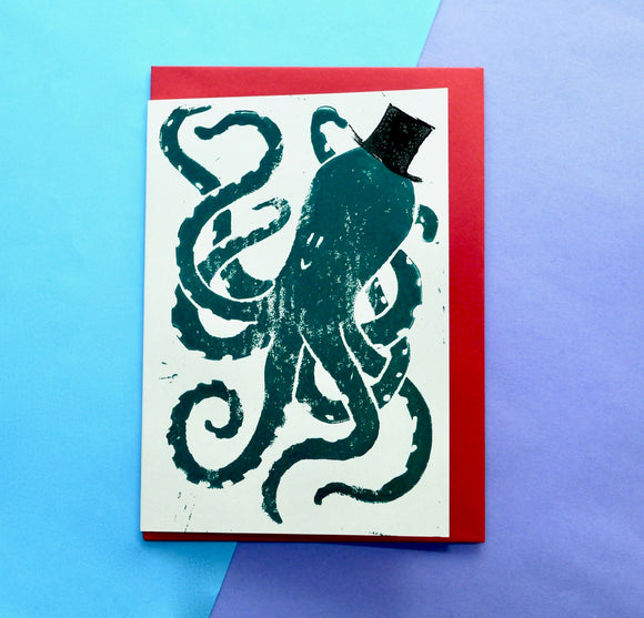 Octopus Lino Print Card