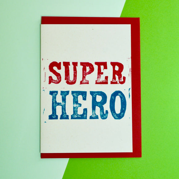 Super Hero Lino Print Card