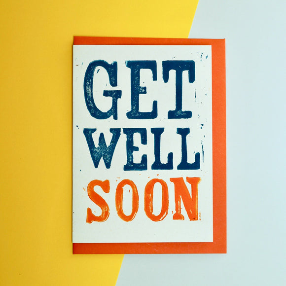 Get Well Soon Lino Print Card