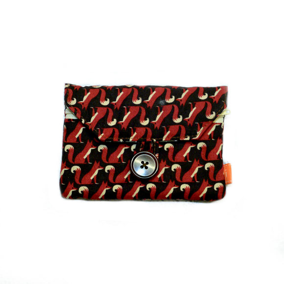 Foxes Zip Pocket Button Purse