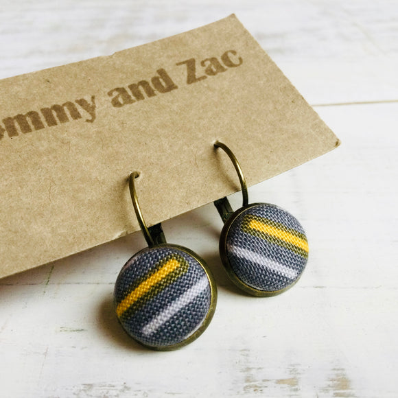 Cotton Fabric Earrings / Grey Mustard White Lines