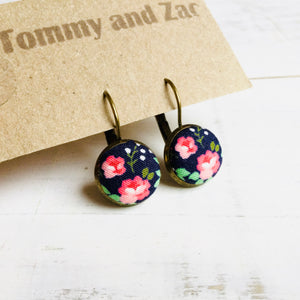Japanese Fabric Earrings / Pink Roses
