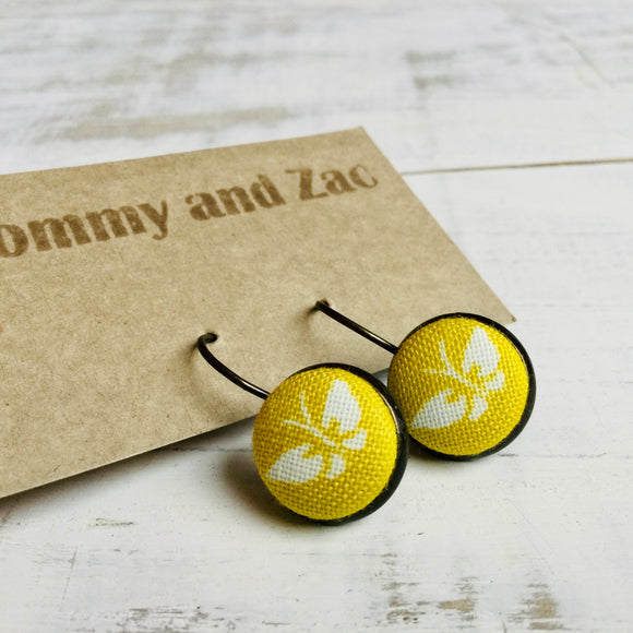 Japanese Fabric Earrings / Butterfly Yellow