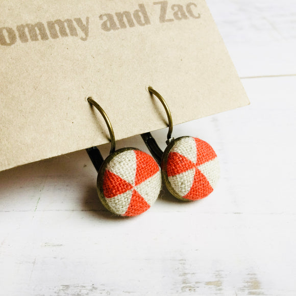 Japanese Fabric Fabric Earrings / Orange Triangles