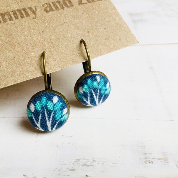 Cotton Fabric Earring / Turquois Tree