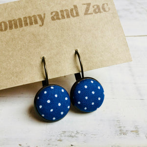 Japanese Fabric Earrings / Polka Dot Blue