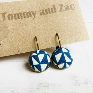 Japanese Fabric Earrings / Blue White Triangles