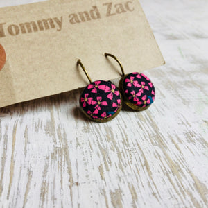 Liberty Cotton Fabric Earrings / Small Pink Ribbon