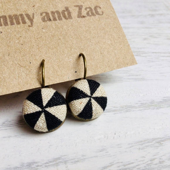Japanese Fabric Earrings / Black & White Triangles