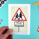 'Elves Crossing' Christmas Card with Envelope