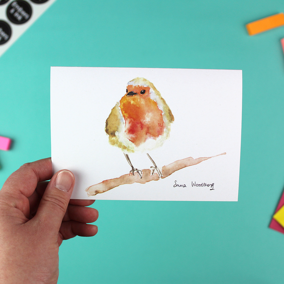 Robin On A Branch Greetings Card